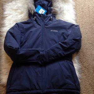 women columbia new tags navy winter jacket coat L